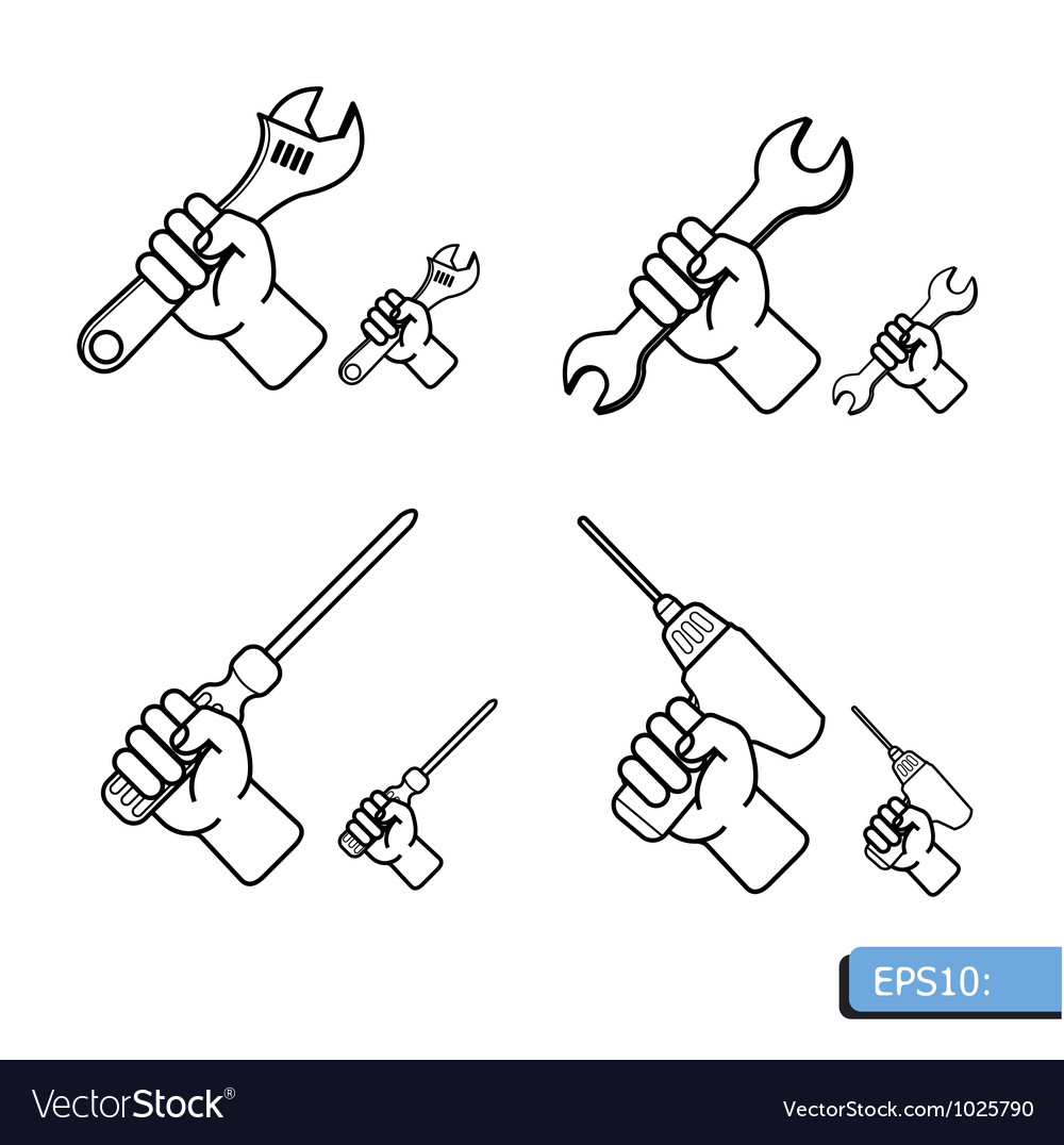 Hand tools icon set white background vector | Price: 1 Credit (USD $1)