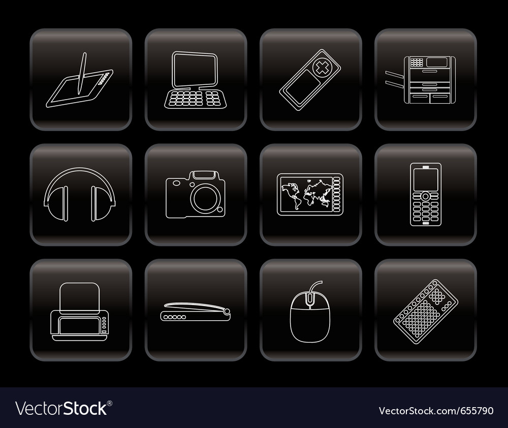 Line hi-tech technical equipment icons vector | Price: 1 Credit (USD $1)
