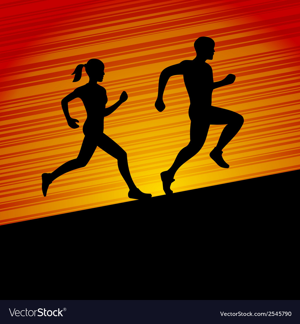 Men and women running silhouette vector | Price: 1 Credit (USD $1)