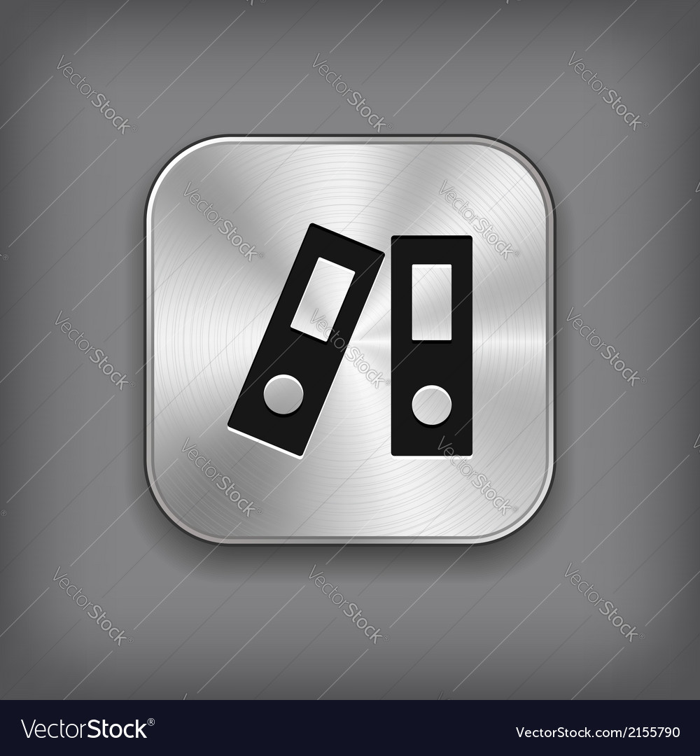 Office folder icon - metal app button vector   Price: 1 Credit (USD $1)