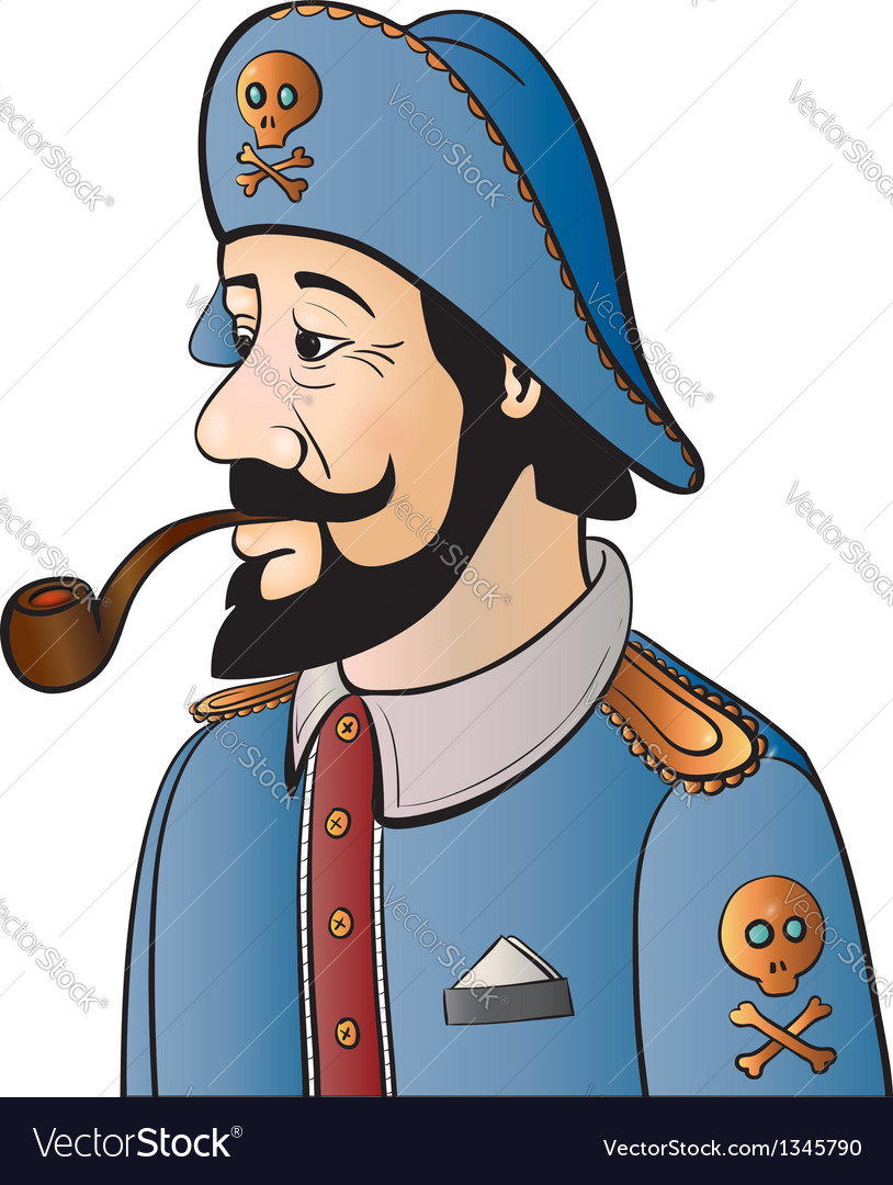 Pirate captain with beard and pipe isolated on vector | Price: 1 Credit (USD $1)