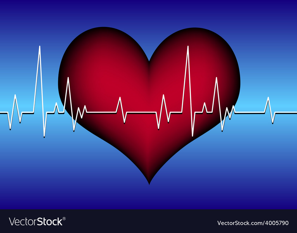 Red heart on blue with cardiogram vector | Price: 1 Credit (USD $1)