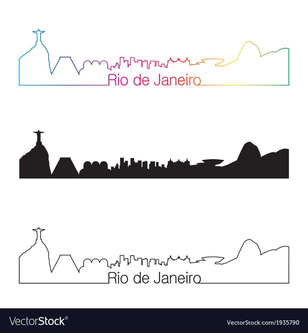 Rio de janeiro skyline linear style with rainbow vector | Price: 1 Credit (USD $1)