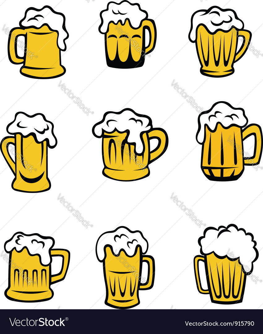 Set of beer glasses vector | Price: 1 Credit (USD $1)