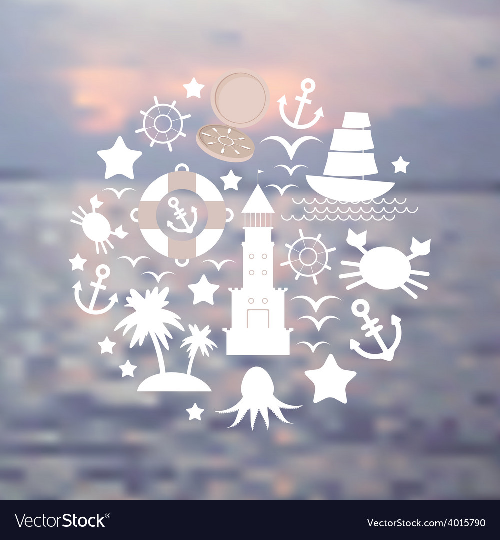 Set sea icons on seascape background vector | Price: 1 Credit (USD $1)
