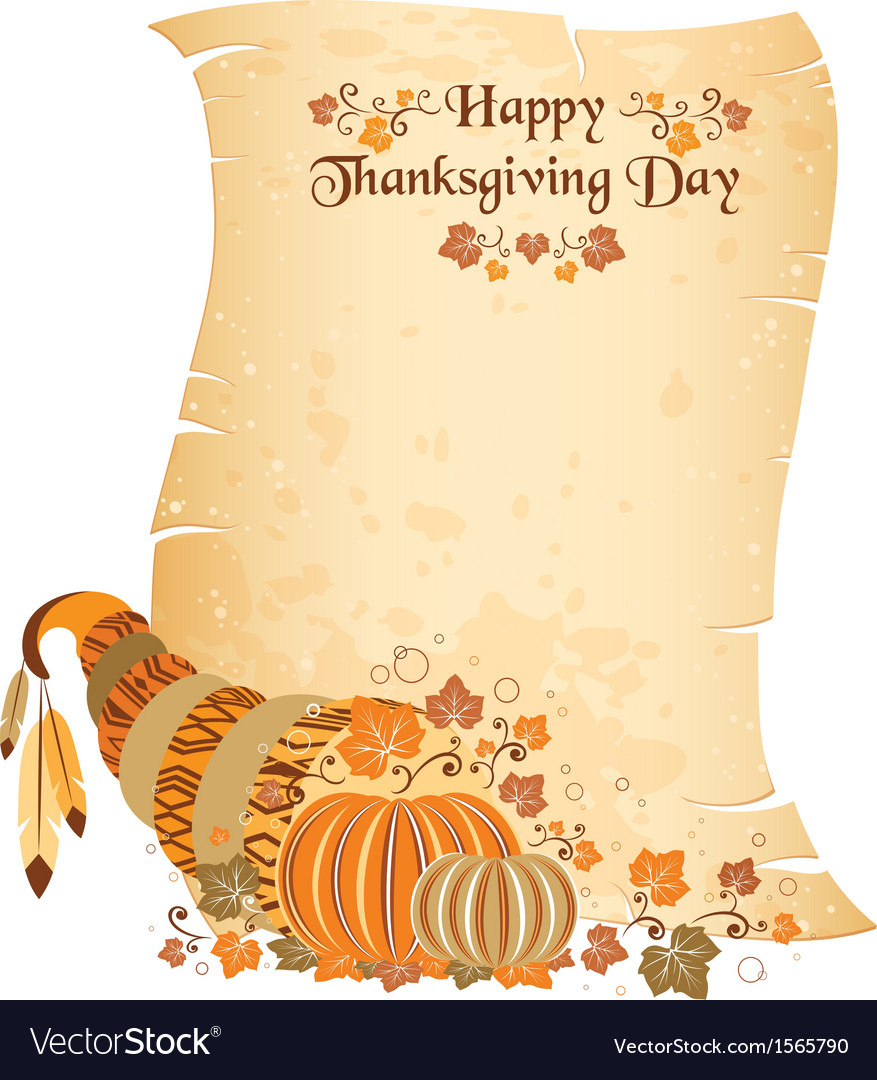 Thanksgiving day scroll with harvest cornucopia vector | Price: 1 Credit (USD $1)