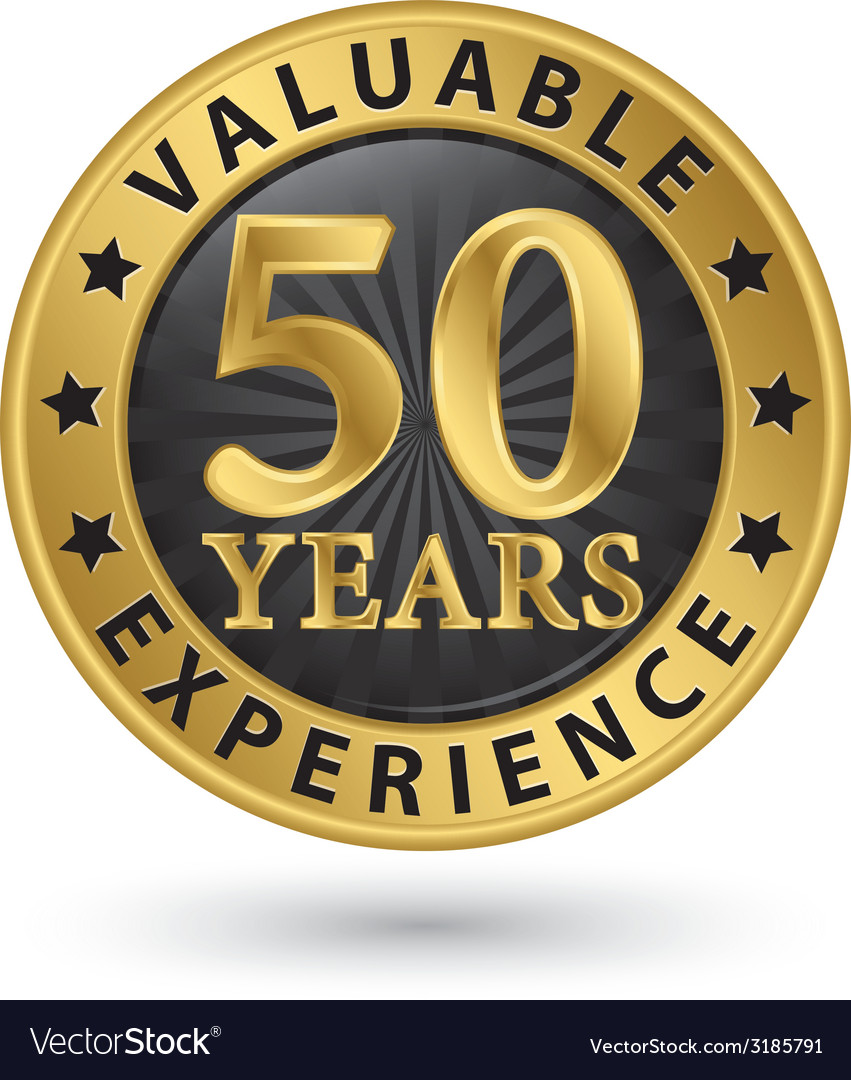 50 years valuable experience gold label vector | Price: 1 Credit (USD $1)