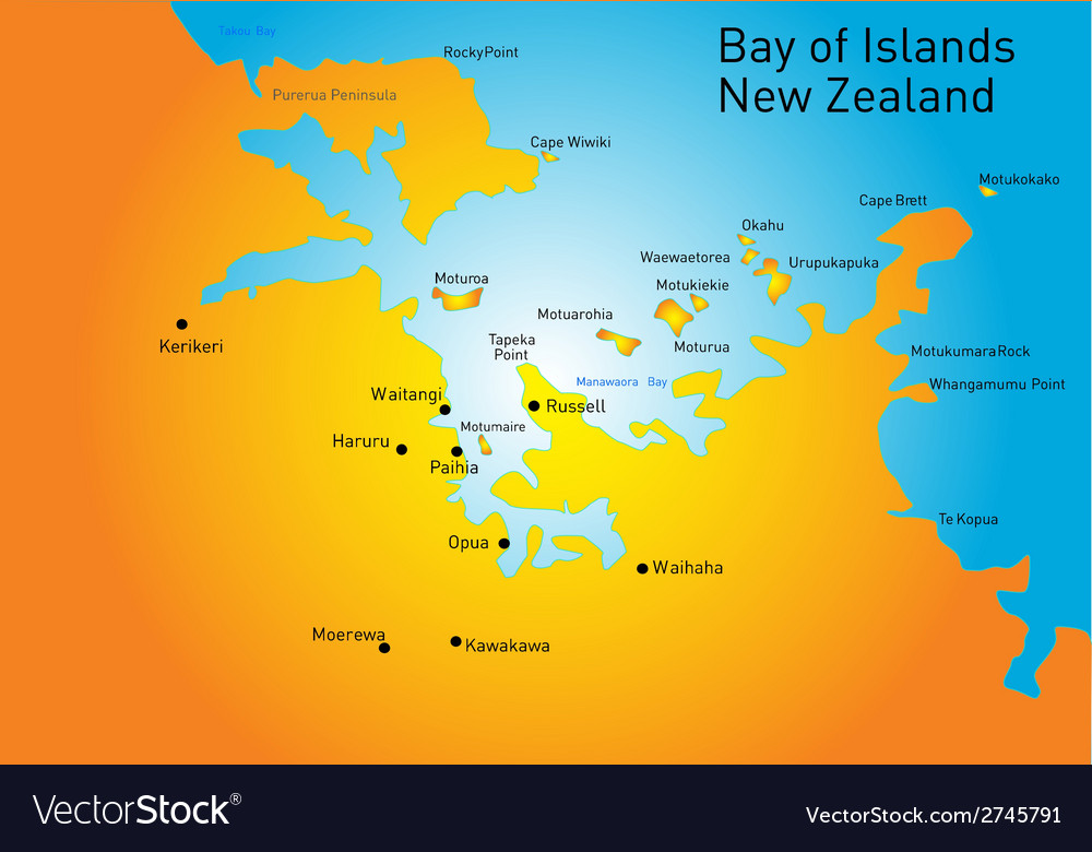 Bay of island new zealand vector | Price: 1 Credit (USD $1)