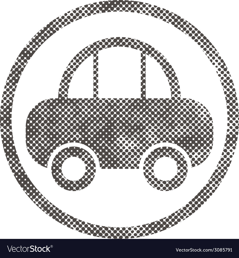 Car icon with pixel print halftone dots texture vector | Price: 1 Credit (USD $1)