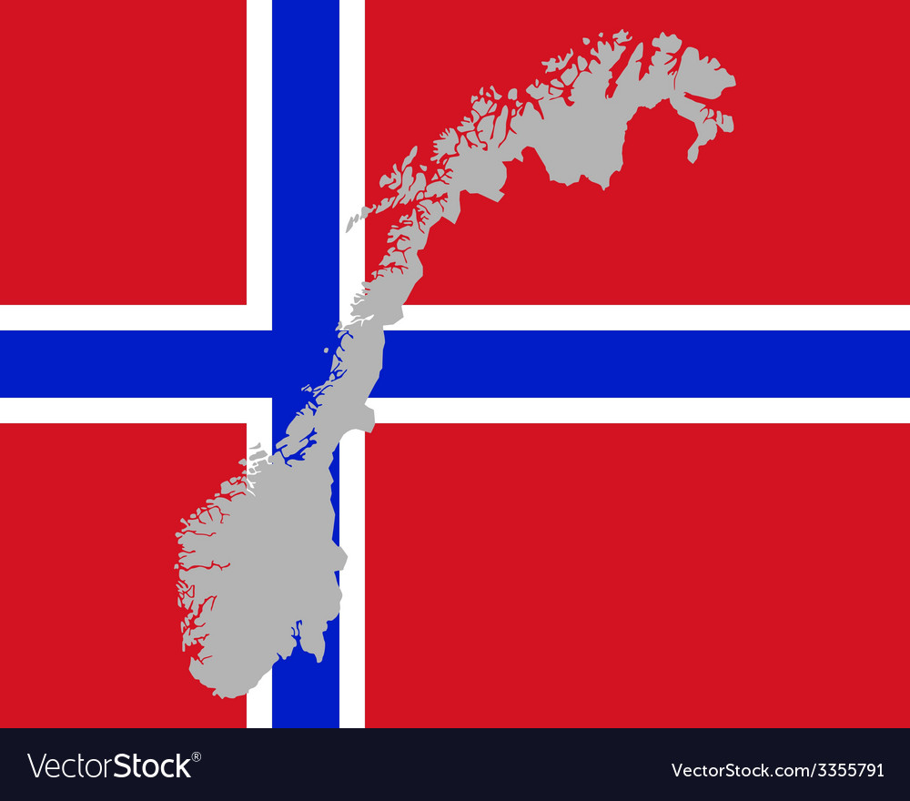 Map and flag of norway vector | Price: 1 Credit (USD $1)