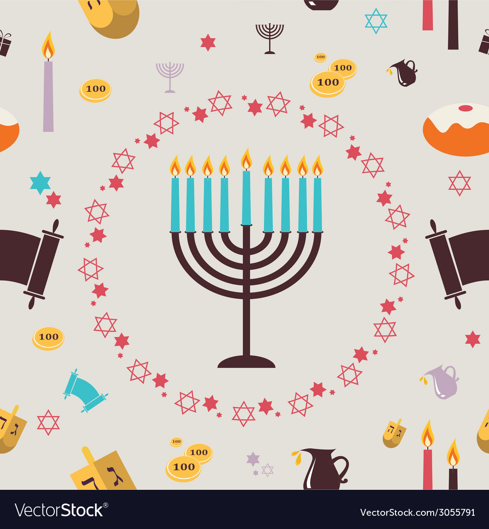 Pattern with hanukkah symbols greeting card vector | Price: 1 Credit (USD $1)