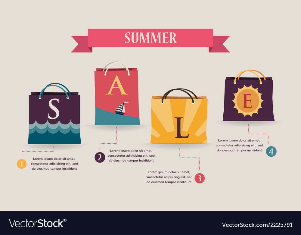 Summer sale infographics with colorful shopping vector | Price: 1 Credit (USD $1)