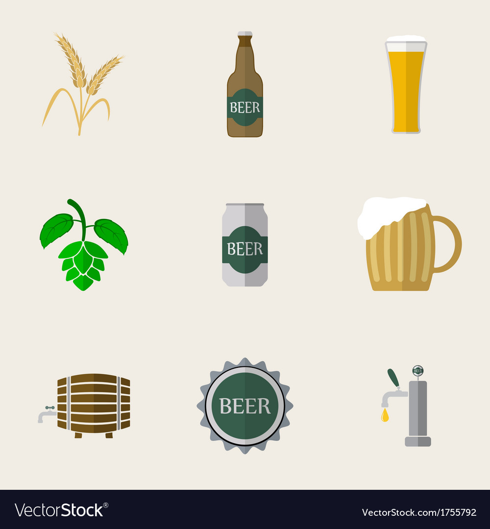 Beer flat icons vector | Price: 1 Credit (USD $1)