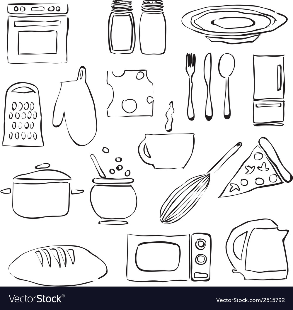 Doodle kitchen images vector | Price: 1 Credit (USD $1)