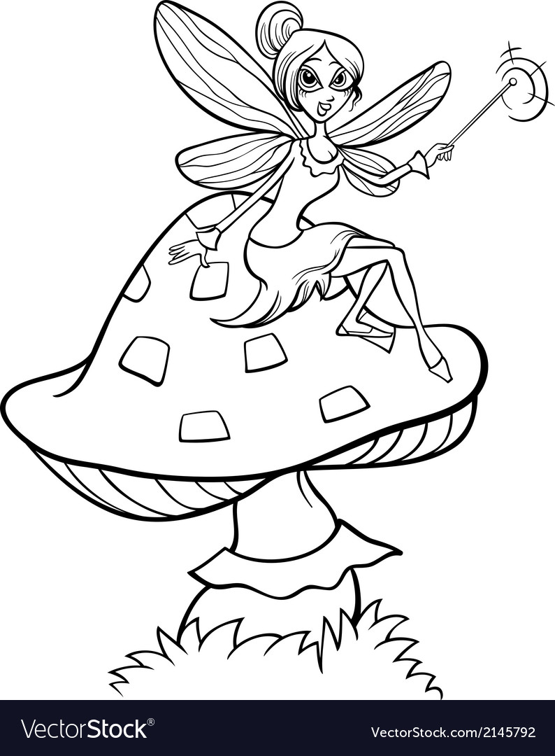 Elf fairy fantasy cartoon coloring page vector | Price: 1 Credit (USD $1)