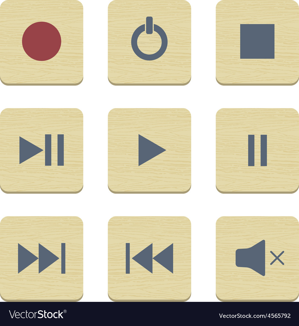 Flat icons collection media player set vector | Price: 1 Credit (USD $1)