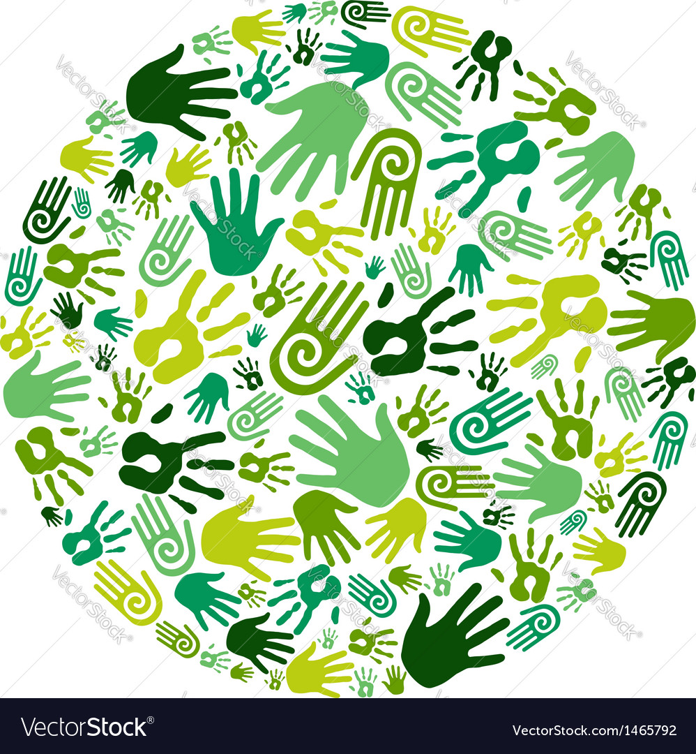 Go green hands circle vector | Price: 1 Credit (USD $1)