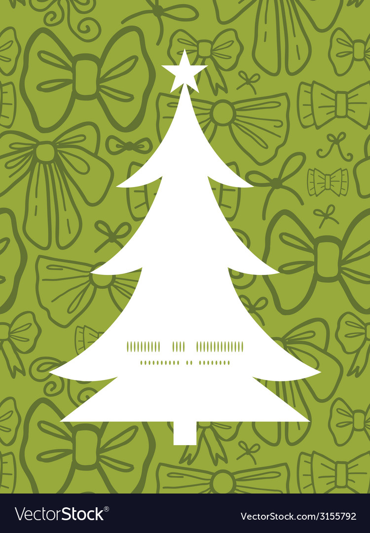 Green bows christmas tree silhouette pattern frame vector | Price: 1 Credit (USD $1)