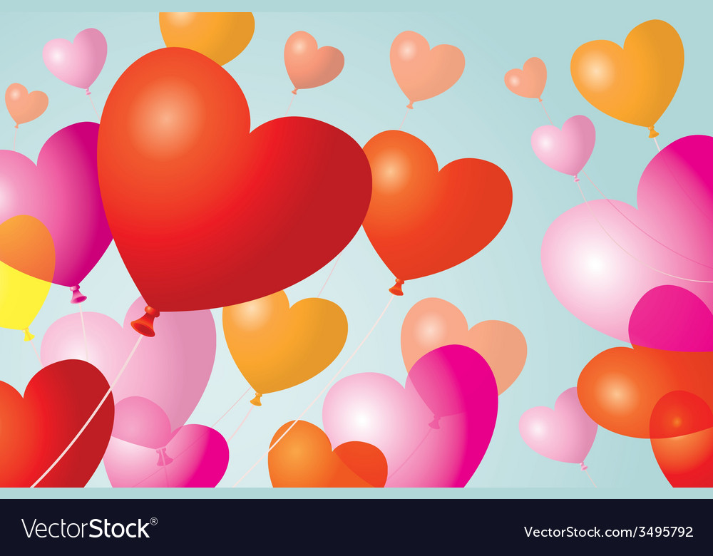 Heart shape balloons background vector | Price: 1 Credit (USD $1)