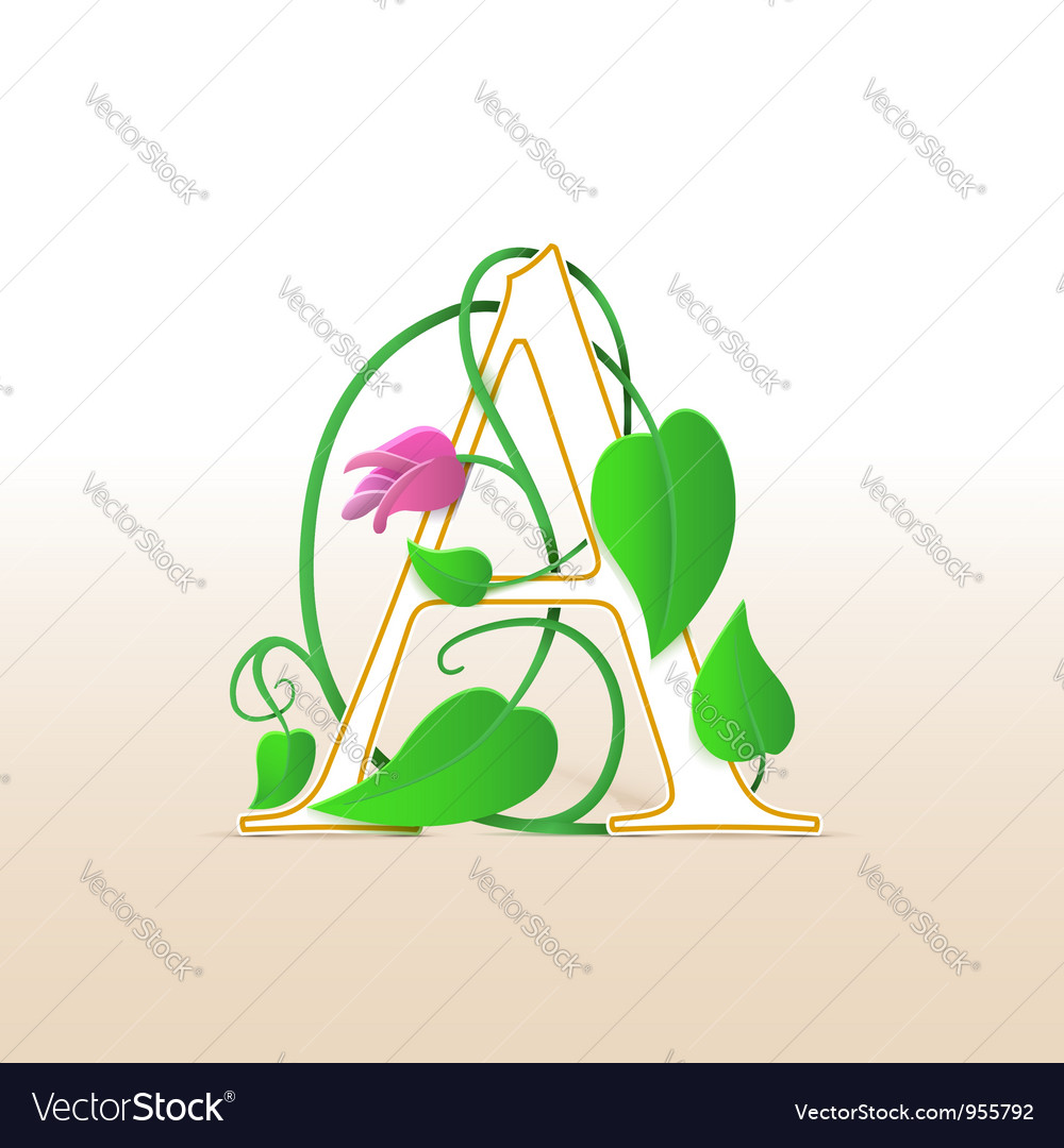 Letter a with an vintage floral pattern vector | Price: 1 Credit (USD $1)