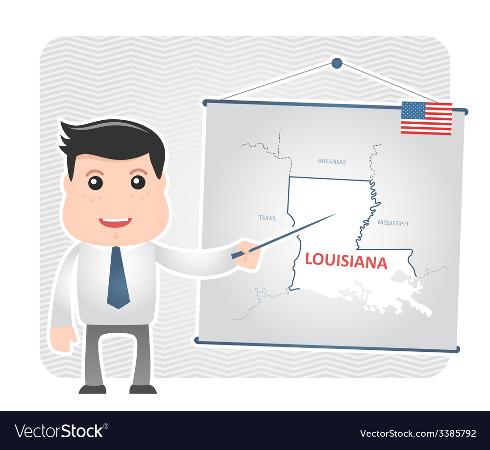 Man with a pointer points to a map of louisiana vector | Price: 1 Credit (USD $1)