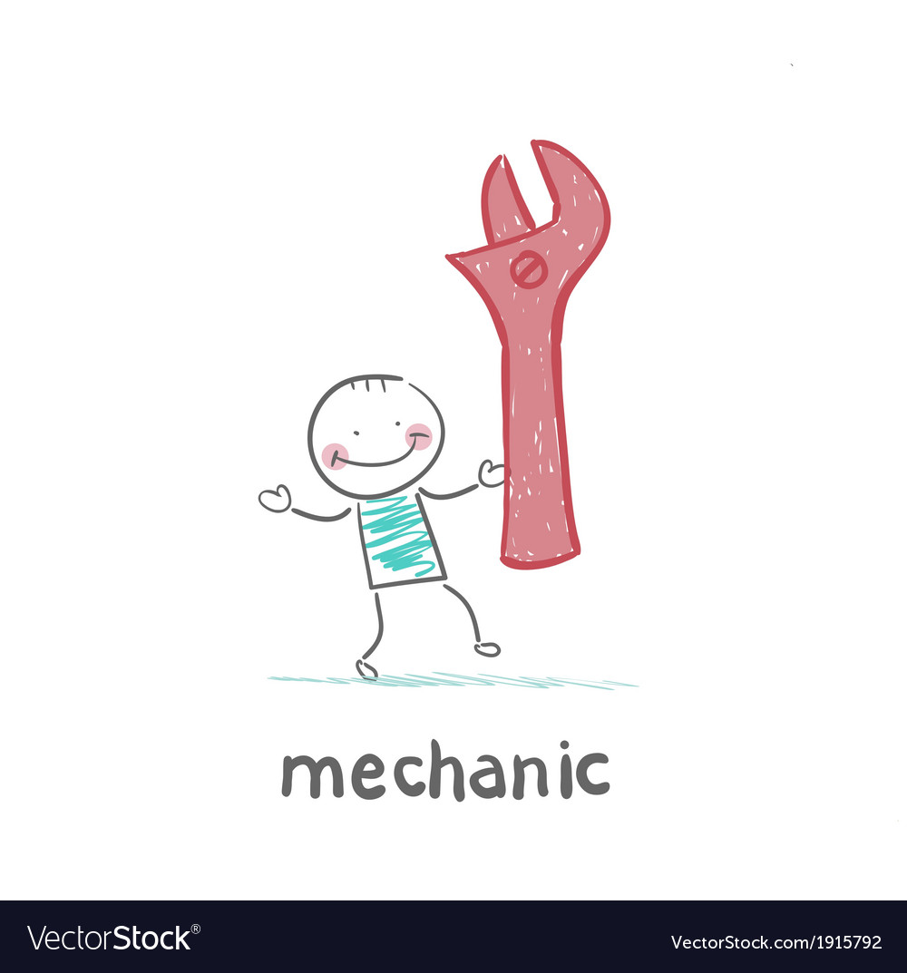 Mechanic holding a red key vector | Price: 1 Credit (USD $1)