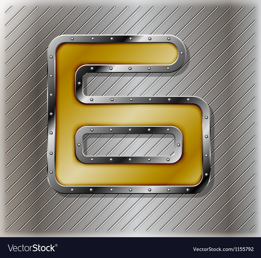 Metallic number six vector | Price: 1 Credit (USD $1)
