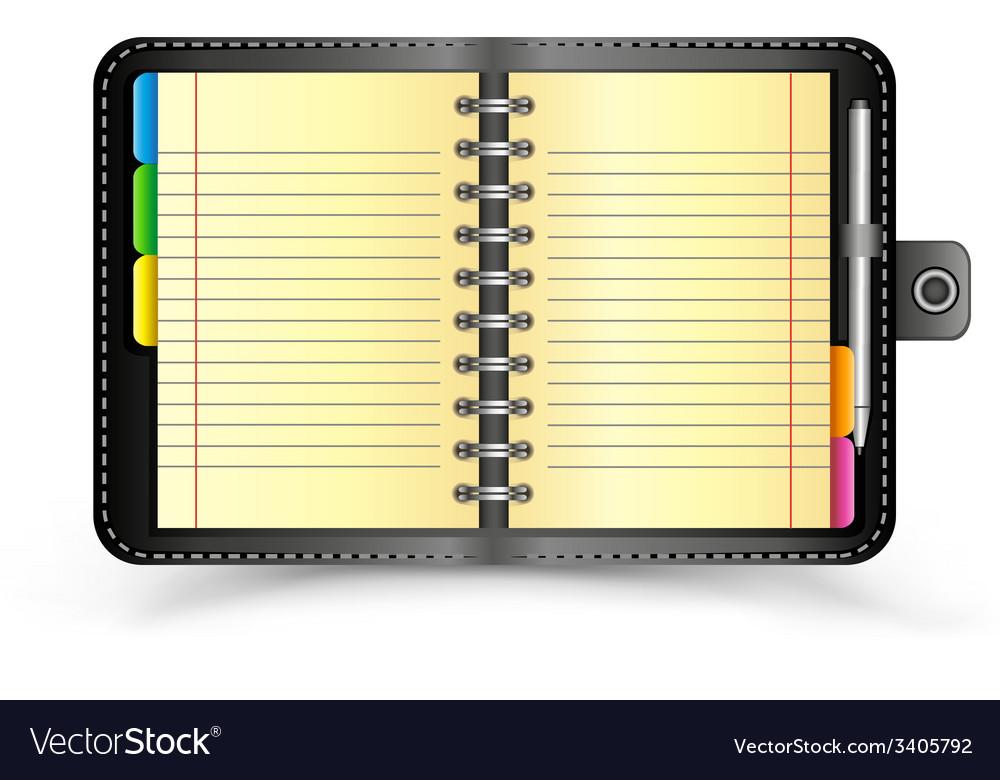 Open black notebook vector | Price: 1 Credit (USD $1)
