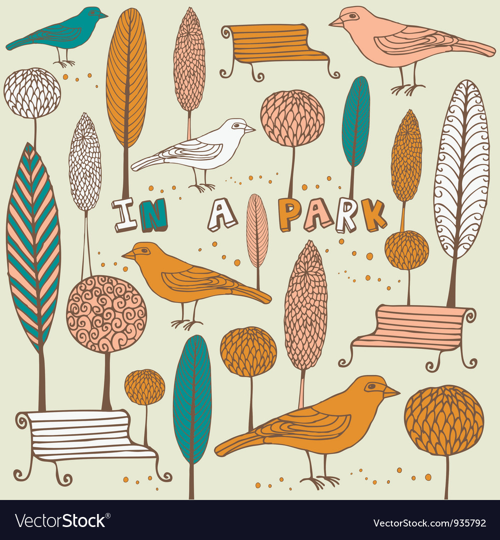 Retro birds in park pattern vector | Price: 1 Credit (USD $1)