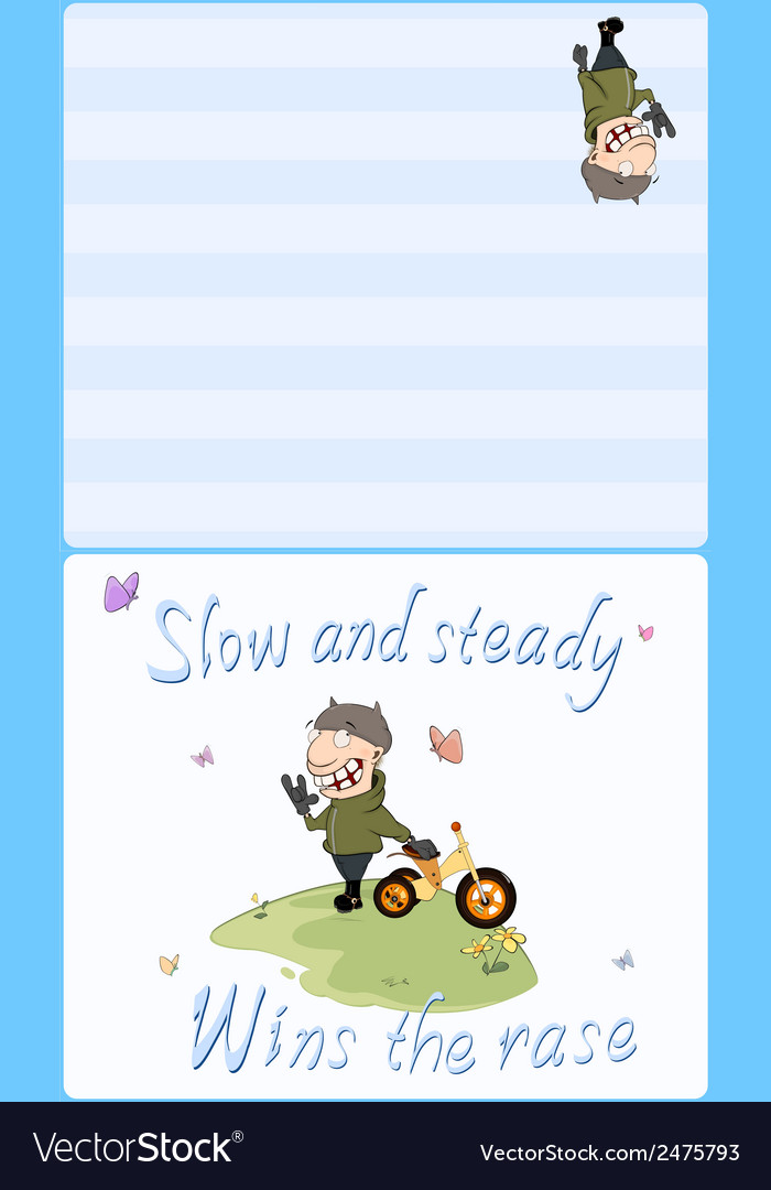 Biker and a childrens tricycle postcard vector | Price: 1 Credit (USD $1)