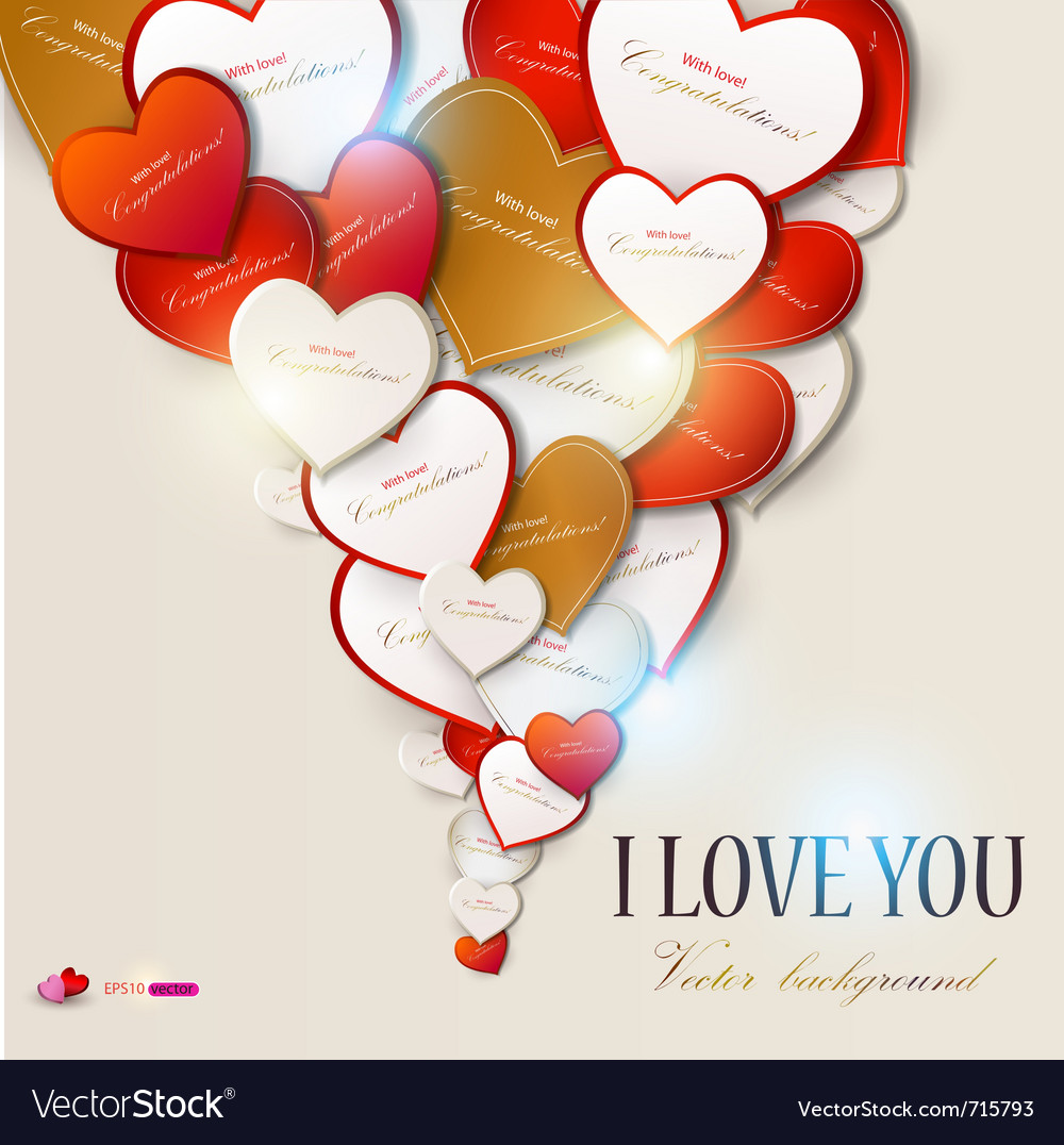 Elegant background with hearts valentines day vector | Price: 1 Credit (USD $1)