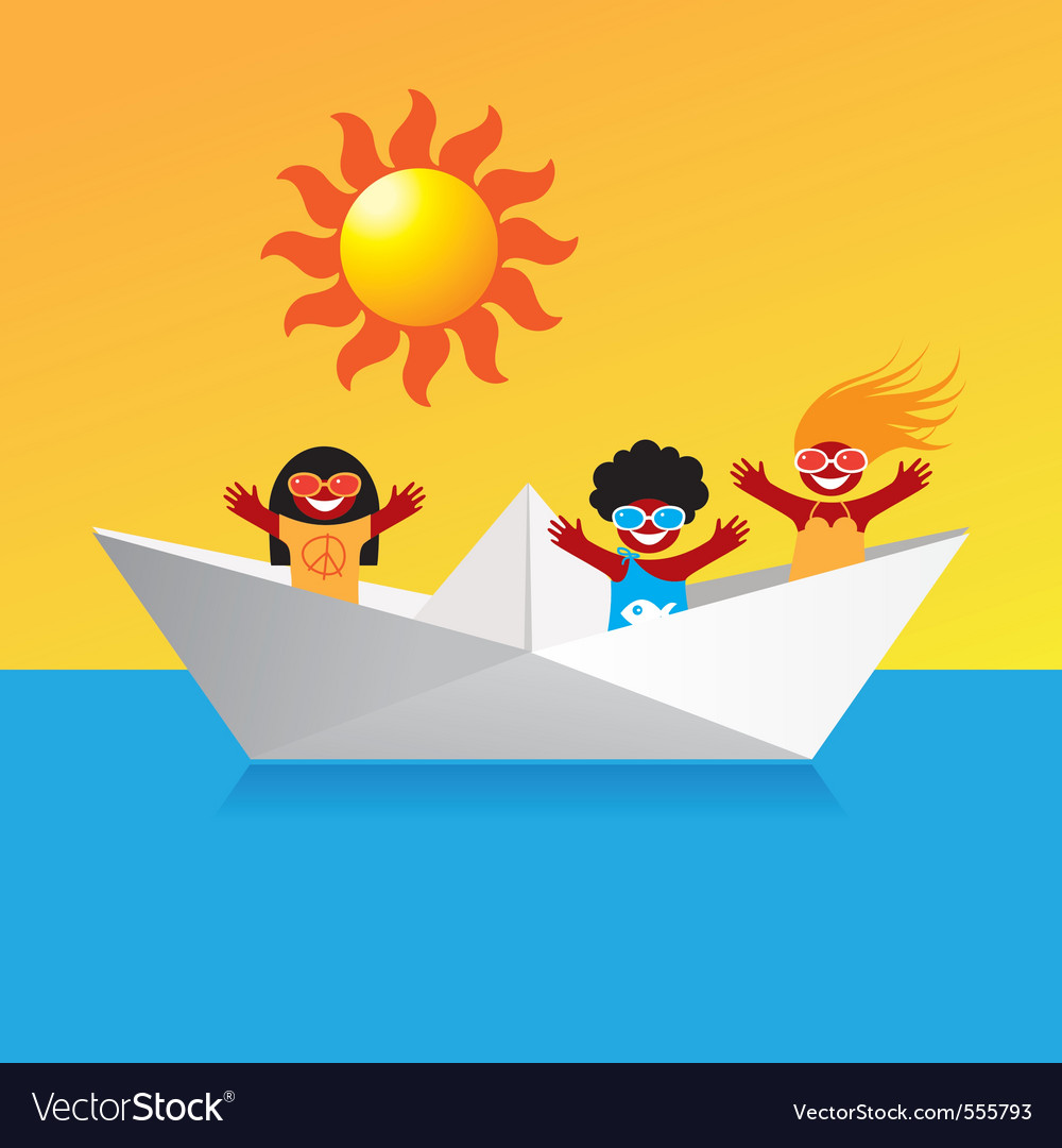 Happy boat people vector | Price: 1 Credit (USD $1)