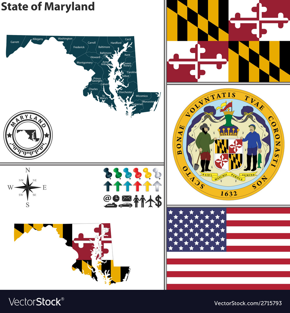 Map of maryland vector | Price: 1 Credit (USD $1)