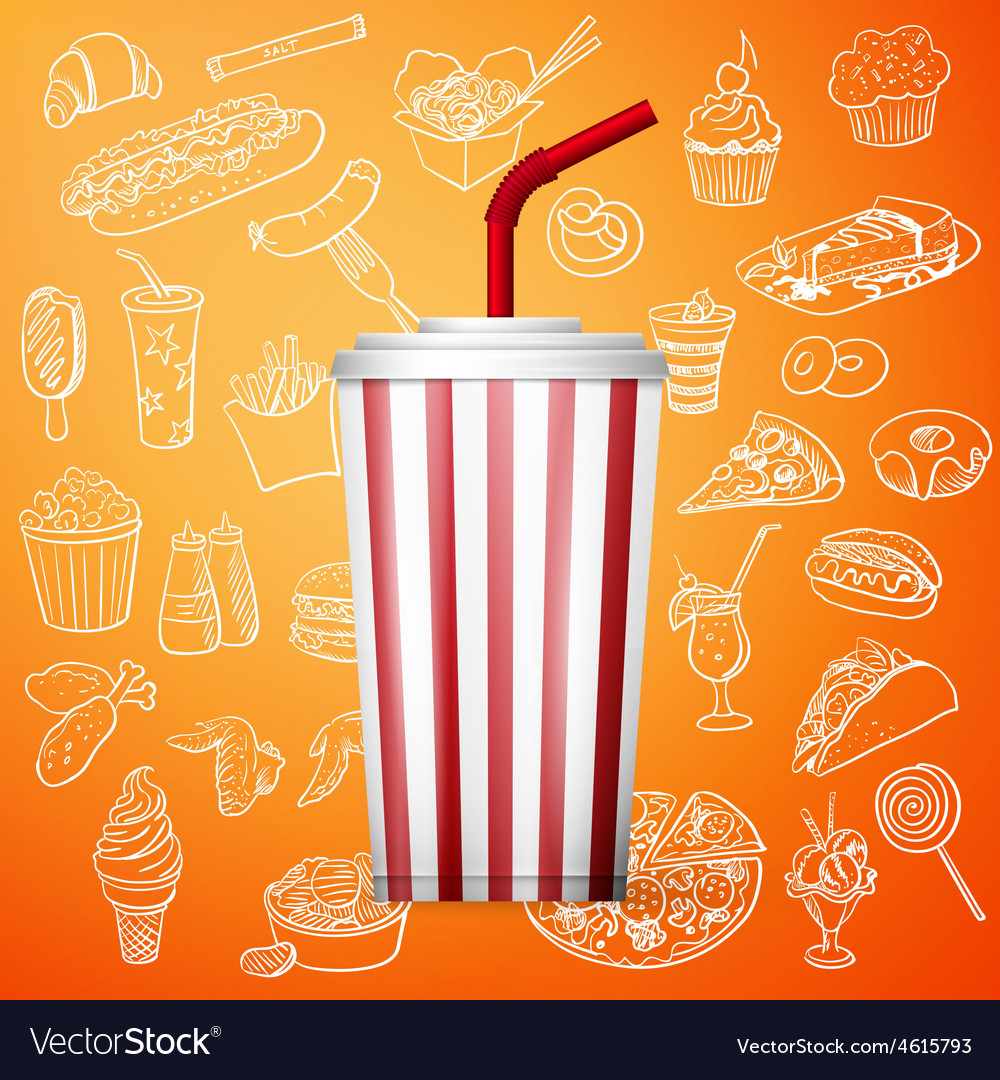 Soda fountain drink and hand draw fast food icon vector | Price: 1 Credit (USD $1)