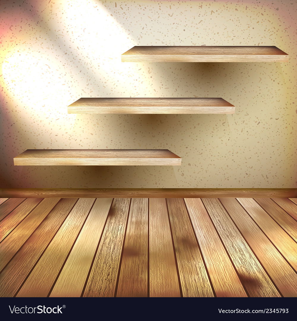 Wall shelves on grunge interior eps 10 vector | Price: 1 Credit (USD $1)