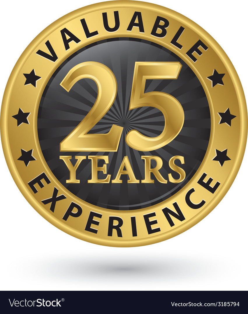 25 years valuable experience gold label vector | Price: 1 Credit (USD $1)