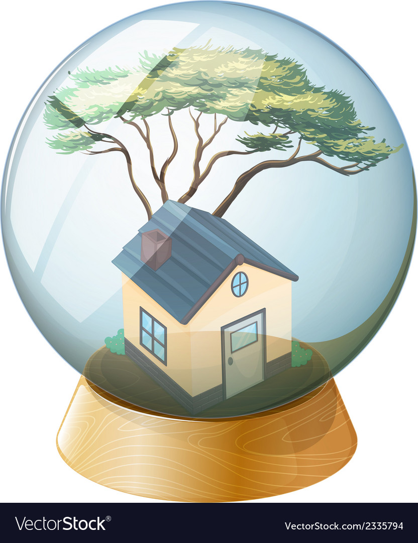 A crystal ball with a house inside vector | Price: 1 Credit (USD $1)