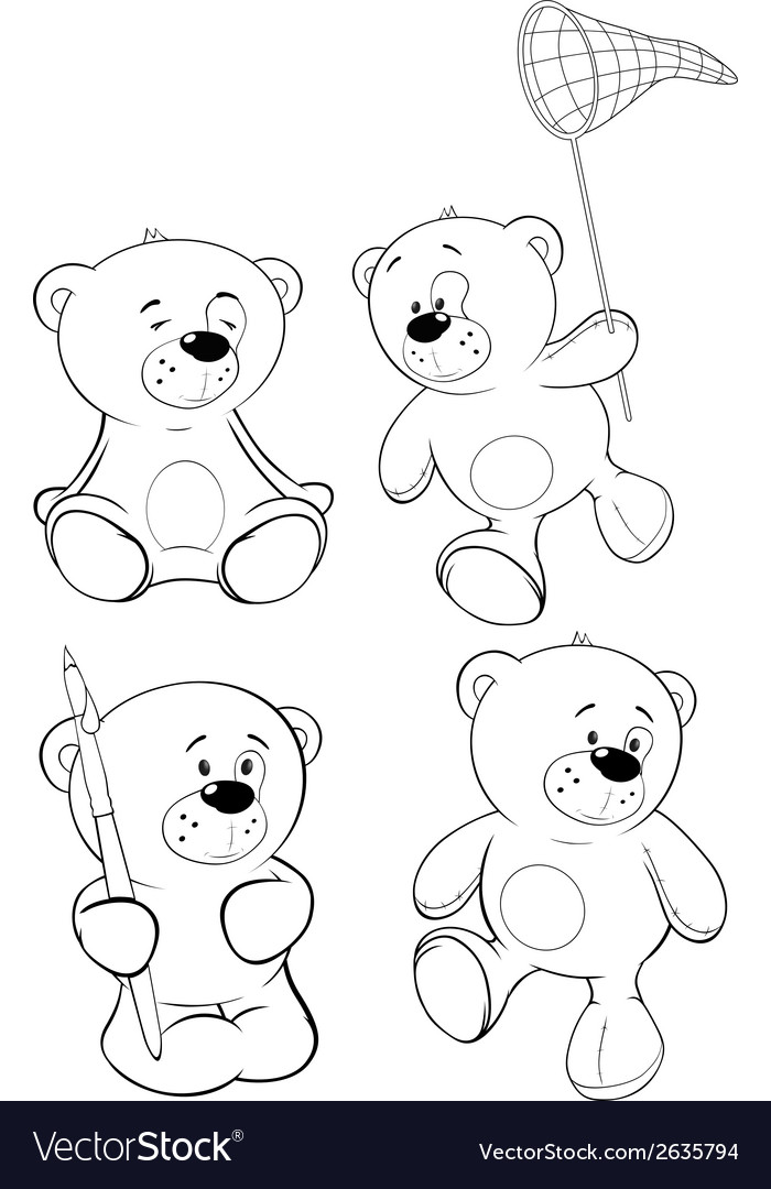 A set of bears coloring book cartoon vector | Price: 1 Credit (USD $1)