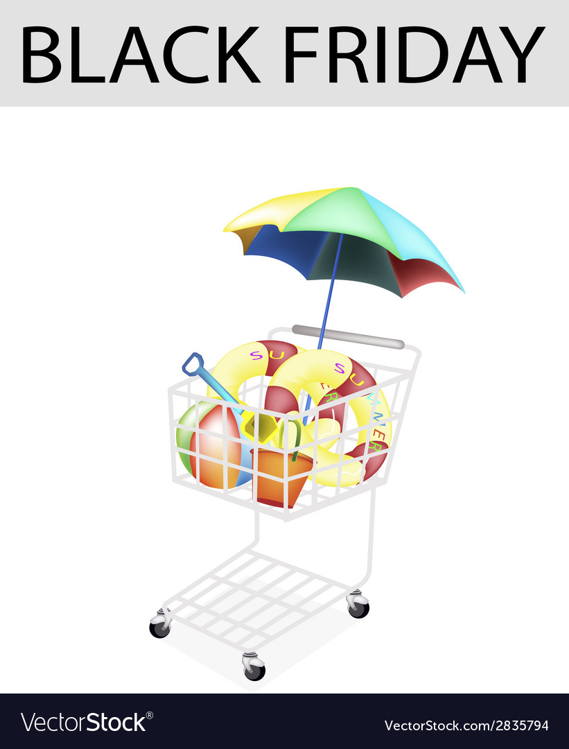 Beach items in black friday shopping cart vector | Price: 1 Credit (USD $1)