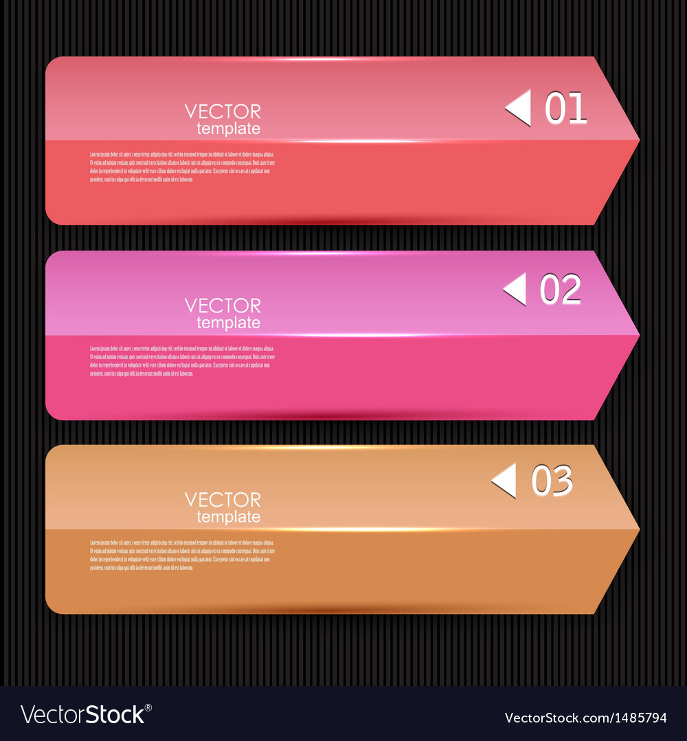 Colorful bookmarks arrows banners for text vector | Price: 1 Credit (USD $1)