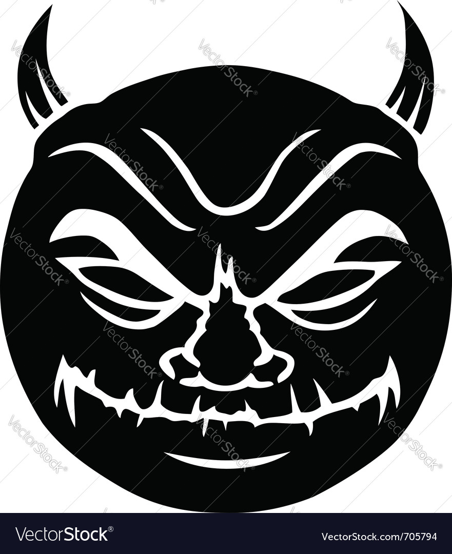 Evil smiley in black vector | Price: 1 Credit (USD $1)