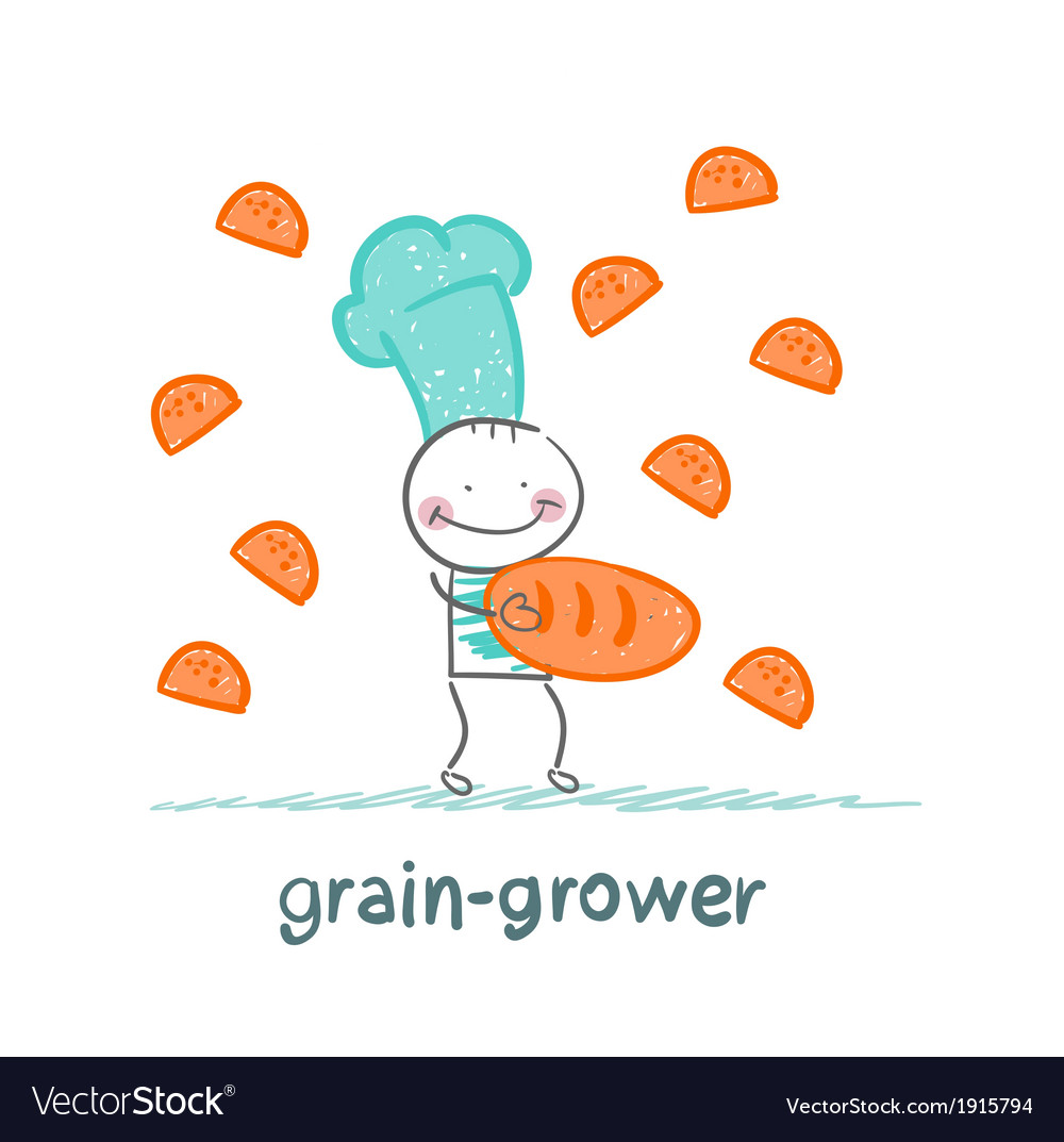 Grain grower gives bread a girl vector | Price: 1 Credit (USD $1)