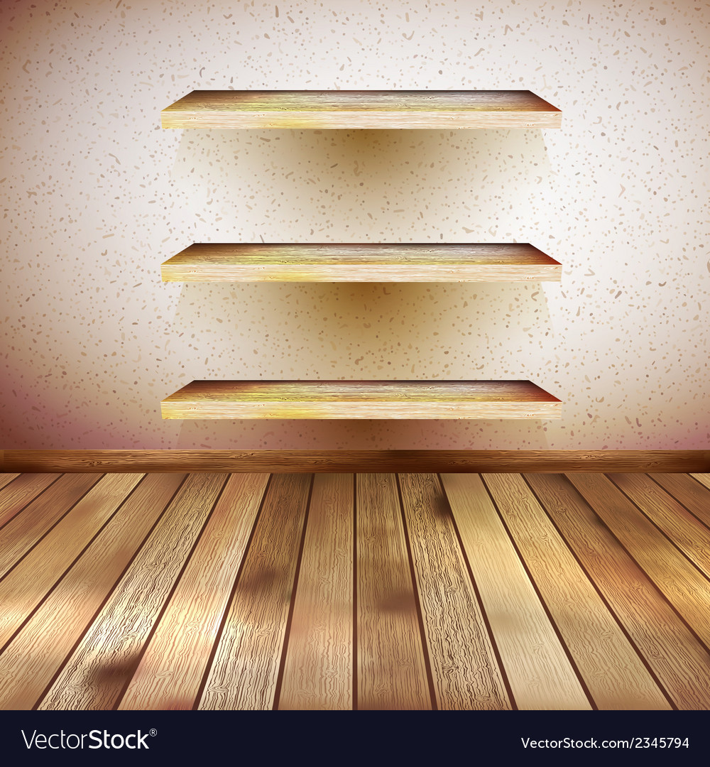Grunge wooden interior with shelf eps 10 vector | Price: 1 Credit (USD $1)