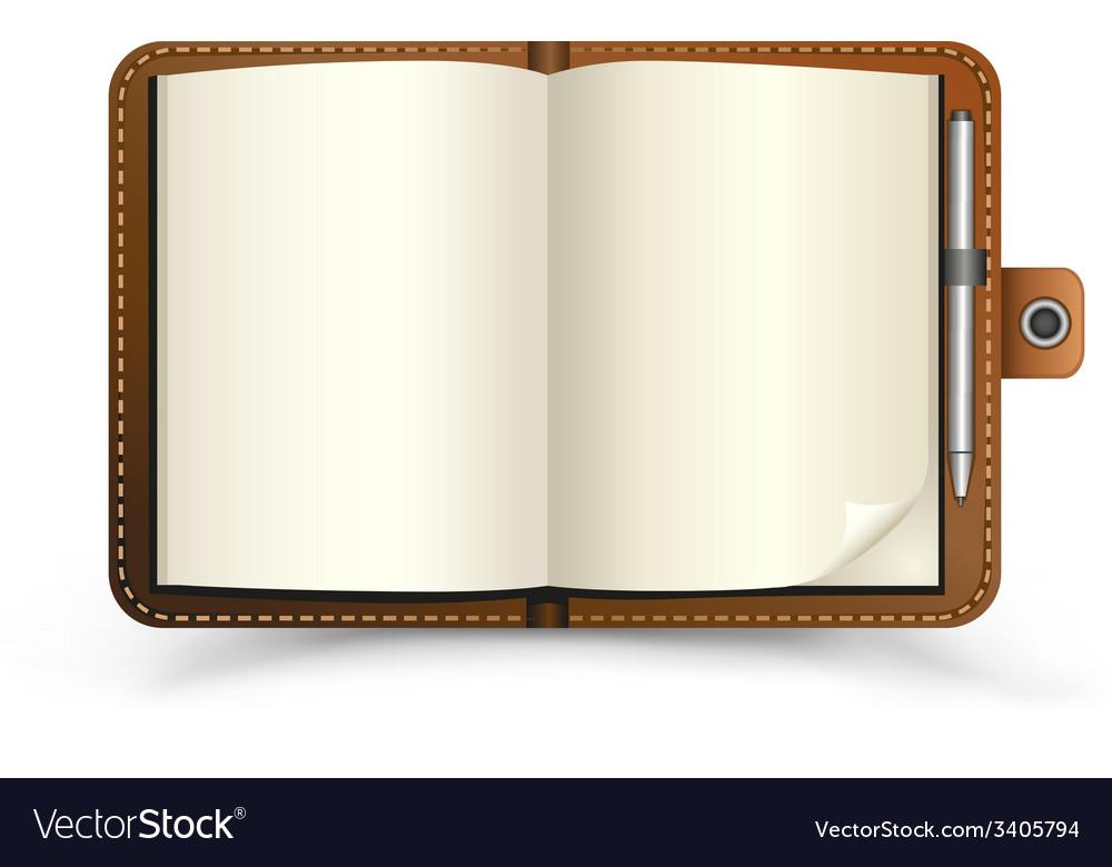 Open brown notebook vector | Price: 1 Credit (USD $1)