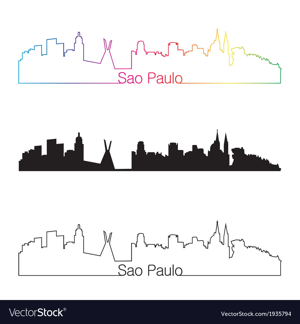 Sao paulo skyline linear style with rainbow vector | Price: 1 Credit (USD $1)