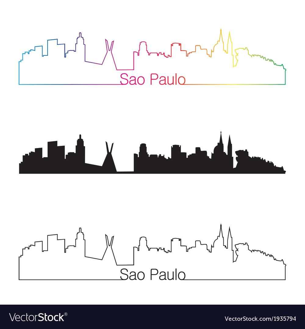 Sao paulo skyline linear style with rainbow vector   Price: 1 Credit (USD $1)