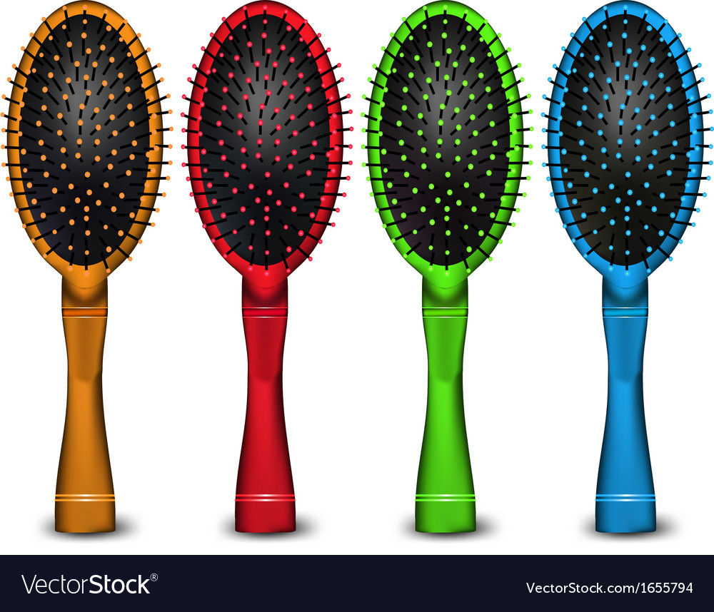 Set of colored hair brush vector | Price: 1 Credit (USD $1)