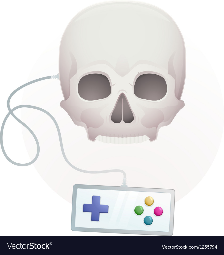 Skull with a gamepad vector | Price: 1 Credit (USD $1)