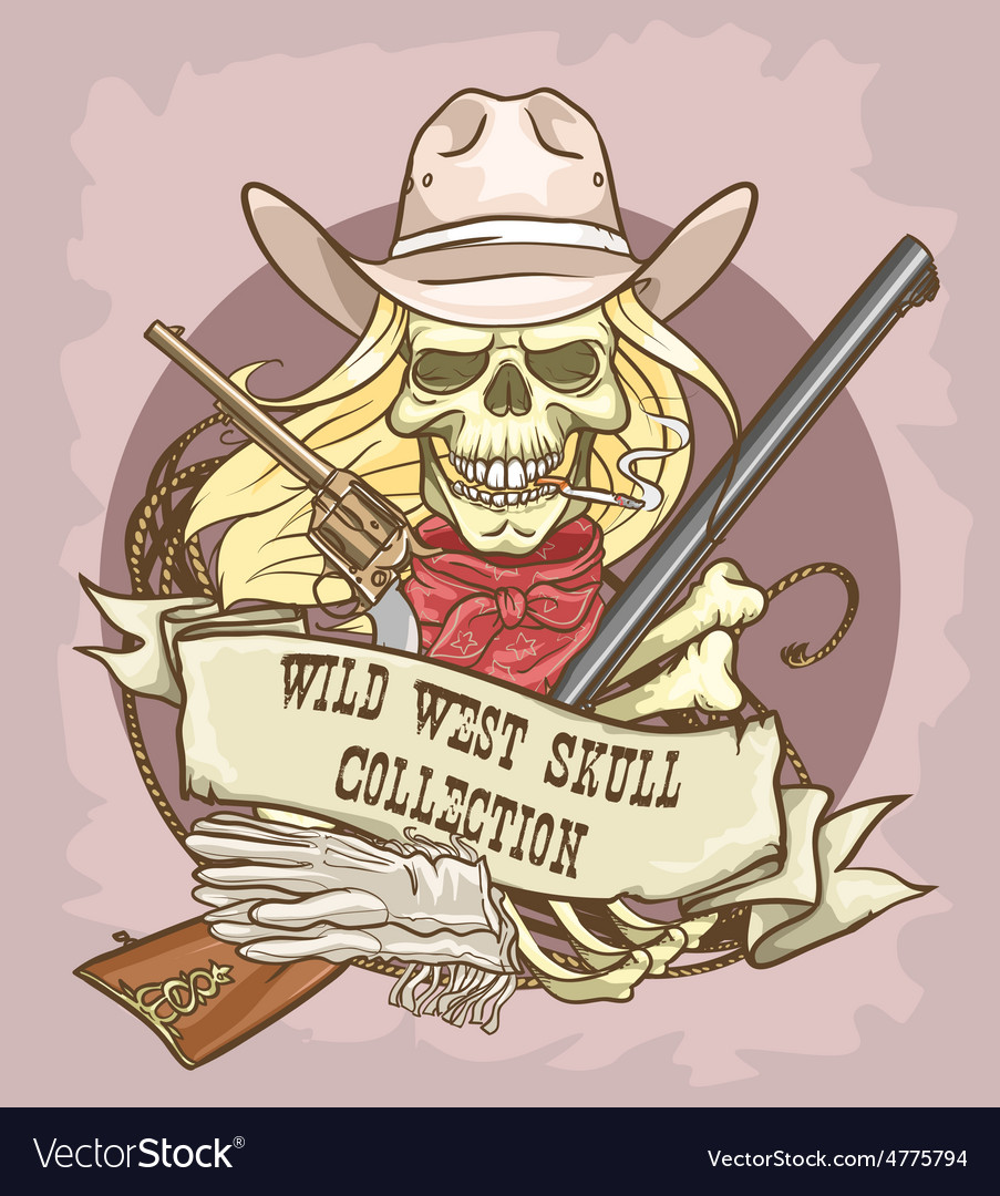 Wild west skull label vector | Price: 3 Credit (USD $3)