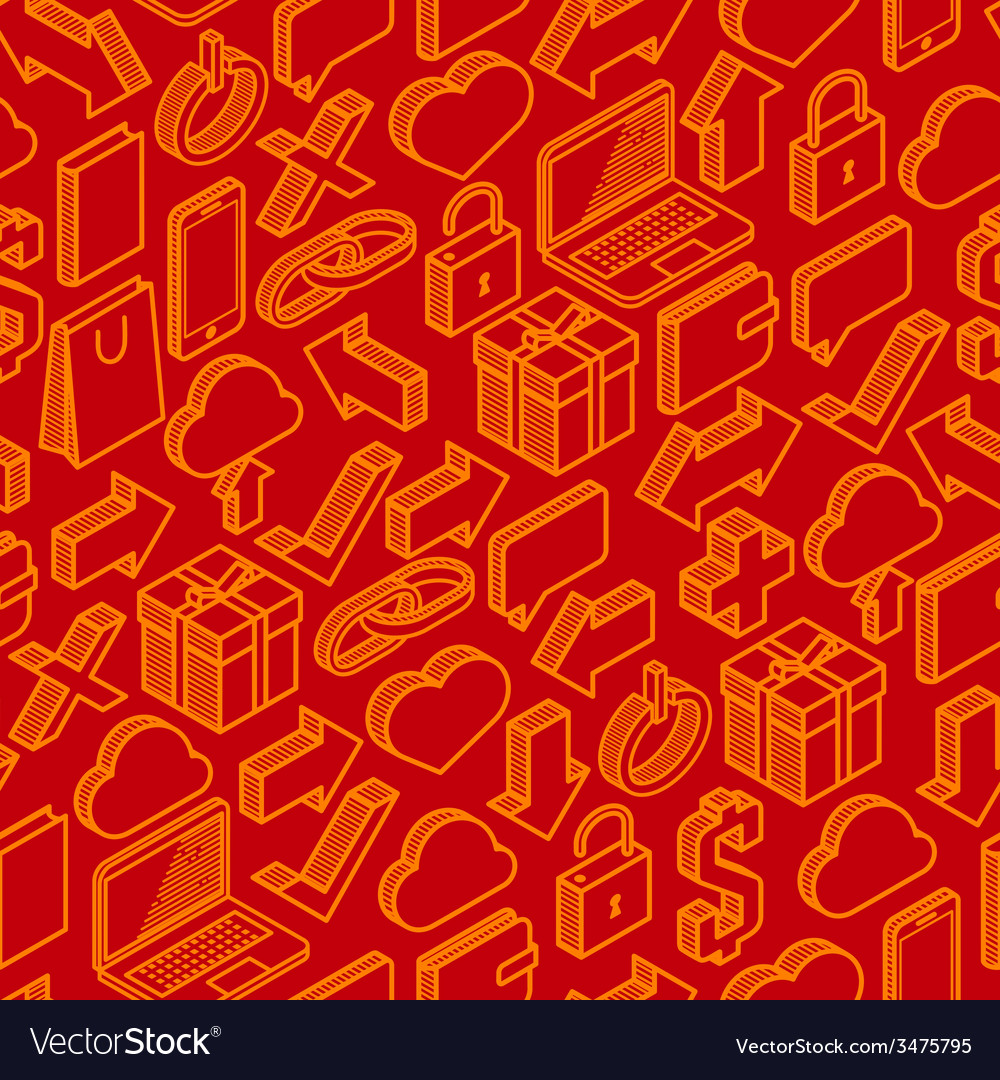 Abstract seamless pattern with isometric icons vector   Price: 1 Credit (USD $1)